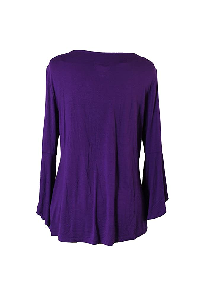 d2e75c08439aab Amazon.com: Inc International Concepts Purple Bell Sleeve Top L: Clothing