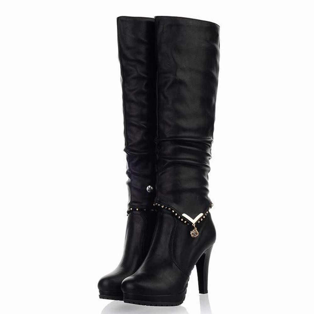 Willsky Hohe Stiefel der Frauen, hochhackige Ritterstiefel Herbst und Winter beiläufige Lange Stiefel PU-Plüsch Abnehmbarer Stiefel des doppelten Verwendungs,schwarz,40