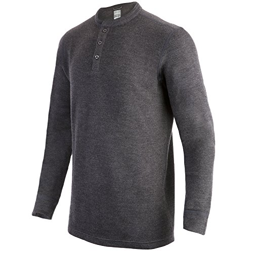 Grey Wool Henley Sweater - MERIWOOL Mens Merino Wool Heavyweight Thermal Henley Pullover Top - Small