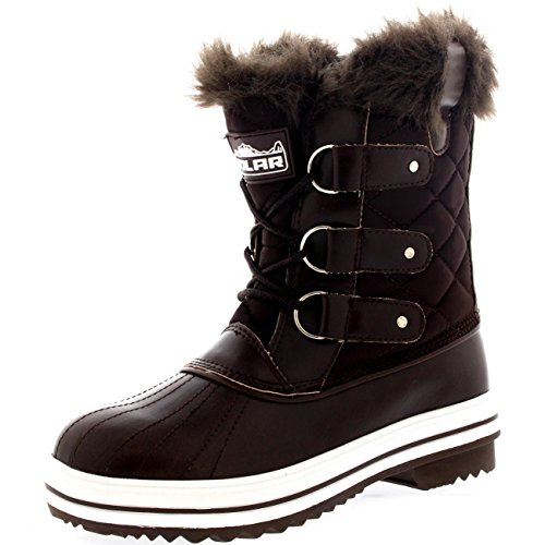 Nylon Snow Winter Short Rain Boots Boot Womens Waterproof Warm Brown Snow Eq6EP