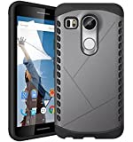 for LG Nexus 5X FOSO(TM) Tough Armor Cushion Gray Black Protective Phone Cover Shell