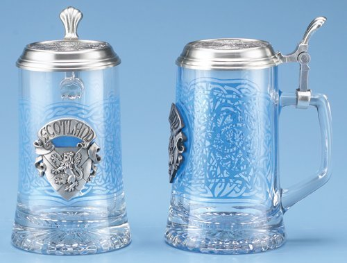 Scotland Glass Beer Stein with Pewter Lid and Pewter Medallion