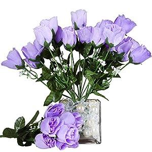 Efavormart 84 Artificial Buds Roses for DIY Wedding Bouquets Centerpieces Arrangements Party Home Decoration Supply - Lavender 2