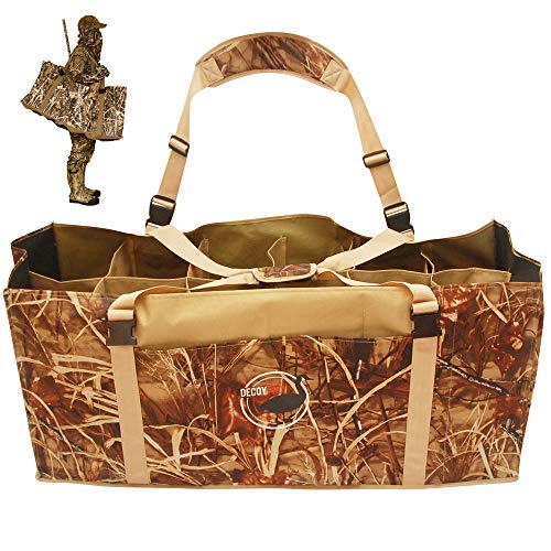 DecoyPro 12 Slot Duck Decoy Bag - Padded & Adjustable Shoulder Strap - Water & Dirt Drain System - Slotted Decoy Bags to Protect Duck Decoys