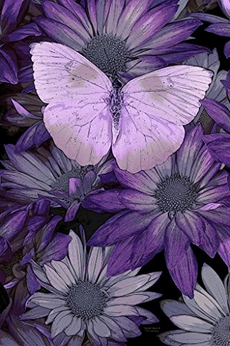 Purple Butterfly Painting Giclee Print on Canvas, Stretched