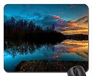 Lake Sunset Mouse Pad, Mousepad (Sunsets Mouse Pad, Watercolor style) by mcsharks