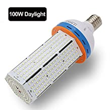 LVJING 100W LED Corn Light Bulb for Indoor Outdoor Large Area - E39/E40 Base, 6000-6500K Day White, 12000LM, Street Lamp Post Lighting for Garage Factory Warehouse High Bay Barn Porch Backyard Garden