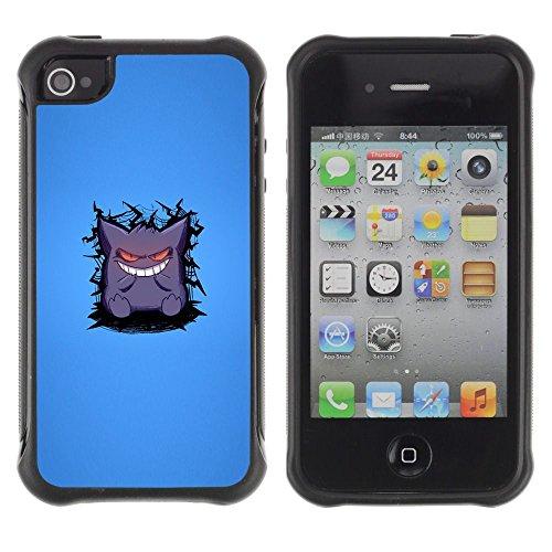 Apple iPhone 4 / iPhone 4S ( Cute Monster White Teeth Cartoon Smile Art )