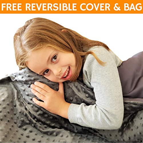 Blanket Mink Wash - Snuggle Pro Weighted Blanket for Kids - 5 lbs Heavy Blanket for Sleeping, 36''x48'' - Set with Bamboo & Minky Reversible Cover - Great Comfort for Children, Toddlers - Sensory Calming Weighted Blanket