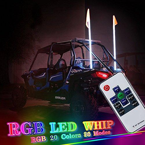 OMUOFFROAD 5FT 20 Color RGB LED Lighted Whip Antenna Whip Safety Flags Pole Bendable For Polaris RZR UTV ATV Sand Dune Buggy Quad Truck Boat (One Whip) Atv Dune Buggy