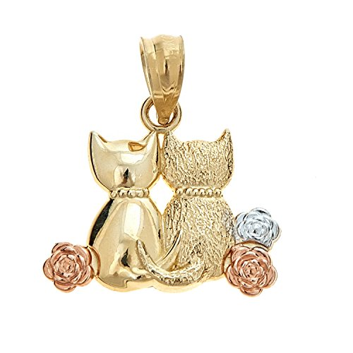 Yellow Gold Cat Charm (14K Solid Yellow Gold Two Cat kitty Kitten Charm Pendant)