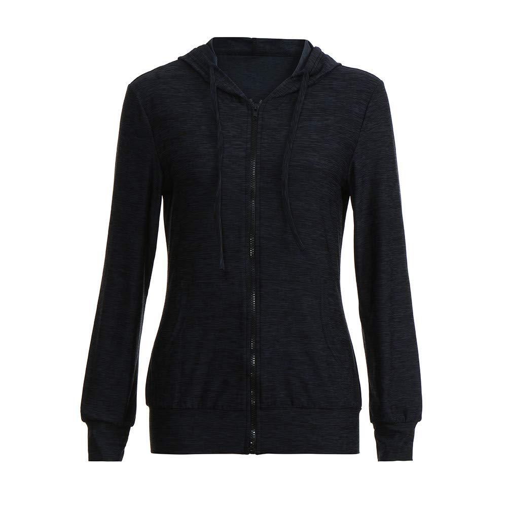 Pervobs Coat&Jacket, Clearance! Women Loose Long Sleeve Solid Classic Slim Full Zip Hoodie Thin Jacket Coat Pockets (XL, Navy) by Pervobs Women Coat&Jacket (Image #4)