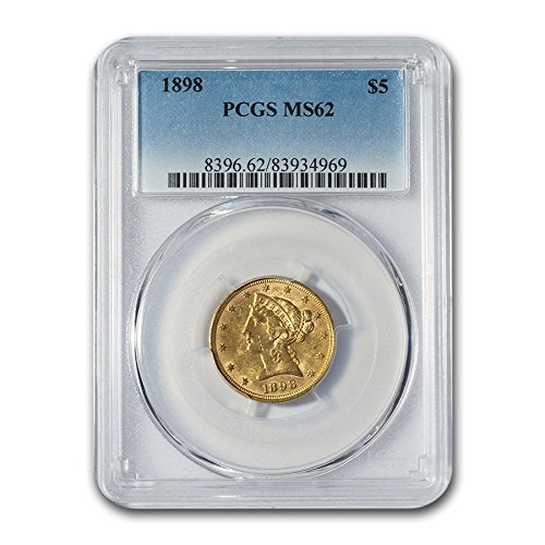 1898 $5 Liberty Gold Half Eagle MS-62 PCGS G$5 MS-62 PCGS