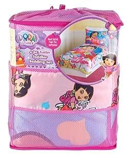 Dora The Explorer 4 Piece Satin Toddler Bedding Set