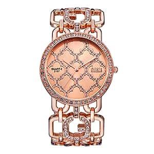 Yoyorule Fashion Women Alloy Dial Quartz Analog Rhinestone Bracelet Wrist Watch (Rose Gold)