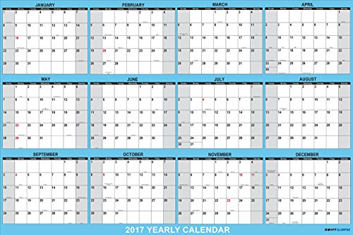 Amazon.Com : Swiftglimpse Wall Calendar 2017, Yearly, 24 X 36