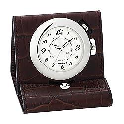 MONTBLANC 9677 Brown Leather Travel Alarm Clock