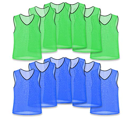 Unlimited Potential Nylon Mesh Scrimmage Team Practice Vests Pinnies Jerseys Bibs for Children Youth Sports Basketball, Soccer, Football, Volleyball (12 Pack, 6 Green/6 Blue, Youth)