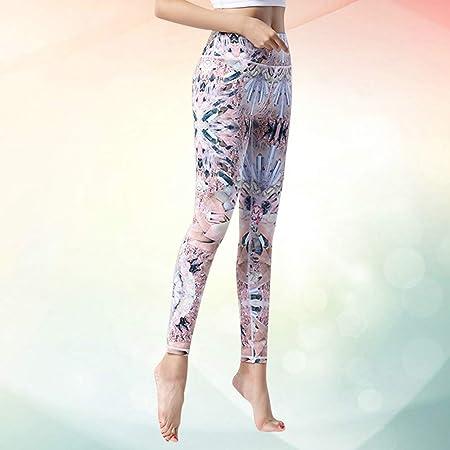 VOSAREA 1pc Mujeres Deportes Cintura Leggings Slim Fitness Pantalones de Secado r/ápido Deportes Gimnasio Yoga Crystal Flower S