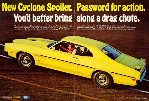 Cyclone Spoiler (1969 Ad 1970 Ford Mercury Cyclone Spoiler 2 Door Coupe Muscle Car 429 CJ 7L V8 - Original Print)