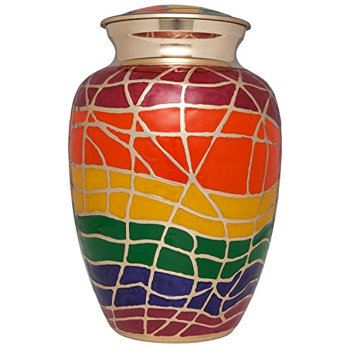 Ansons Urns Rainbow Cremation Urn with Bronze Accents - Funeral Urn for Human Ashes - Large Adult Size Burial Urn - 100% Brass - Up to 200 (Rainbow Urn)