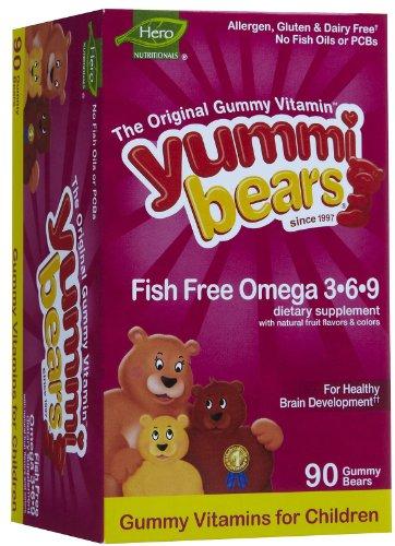 9 Gummy Vitamins (Yummi Bears (hero Nutritional Products) Omega 3 6 9 Plant Based Gummies 90 Ct)