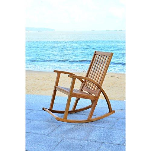 Safavieh Outdoor Collection Clayton Look Rocking Chair, Teak Brown ()