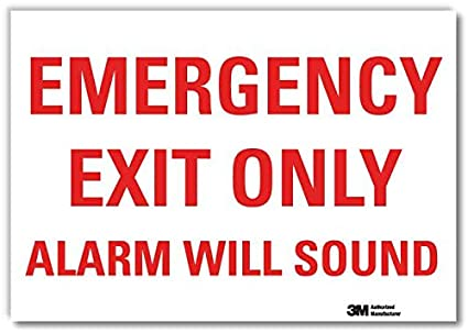 Alarm Will Sound Sign SmartSign Emergency Exit Only 10 x 14 Plastic