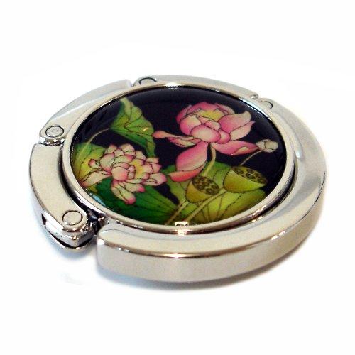 Antique Alive Mother of Pearl Folding Table Purse Caddy Handbag Holder Hanger Hook, Pink Lotus Flower, 3.2 Ounce