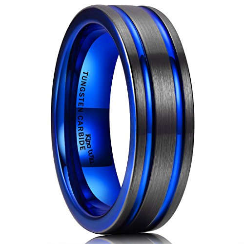 lue Line Black Tungsten Carbide Wedding Ring Engagement Band Comfort Fit(10) ()