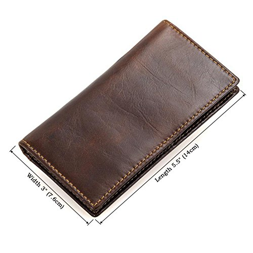 Chocolate RFID Bifold Wallet Slots Artmi Wallets Vintage Mens Chocolate with Genuine Leather Card 12 Long qn856w4R5x