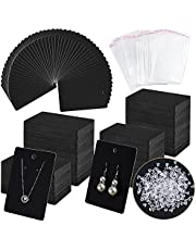 TUPARKA 400 Pcs Black Earring Cards Black Earring Holder Cards with Self-Sealing Bags and Clear Earring Backs for Earrings Necklace Display Hanging Jewelry Packaging
