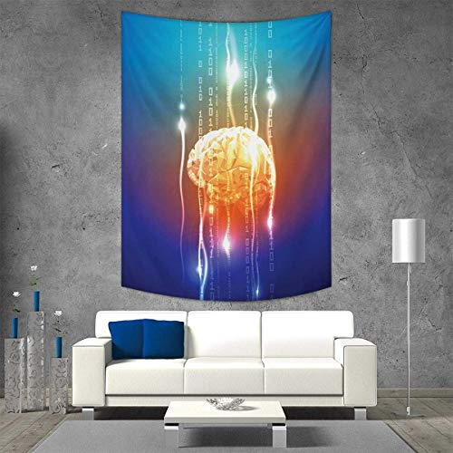 smallbeefly Fantasy Tapestry Wall Tapestry Stream Binary Digits Leaking from Abstract Brain Mental Creativity Theme Print Art Wall Decor 70W x 84L INCH -