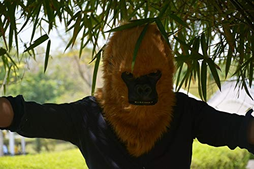 LUANAYUN-TOYS Realistic Animal Mask Handmade Halloween Moving Mouth Mask White Gorilla Mask Animal Carnival Wolf Masks Popular Animal Head Mask Animal Head Mask ( Color : Brown , Size : 2525 ) -