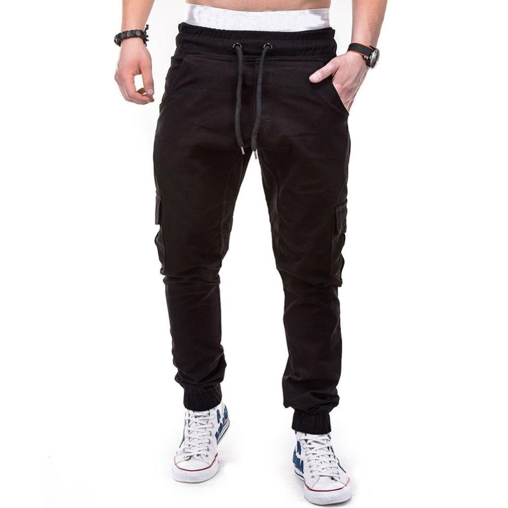 HTHJSCO Men's Jogger Pants - Casual Straight Tapered Trousers with Elastic Waist, Casual Loose Sweatpants Drawstring Pant (Black, XXXL)