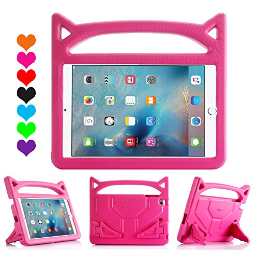 iPad Mini Kids Case - Riaour Kids Series Light Weight Shock Proof Handle Friendly Convertible Stand Kids Case for for Apple iPad Mini - Mini 2 - iPad Mini 3rd Generation - iPad Mini 4 Tablet (Rose)