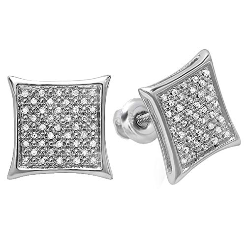 - Dazzlingrock Collection 0.20 Carat (ctw) Real White Diamond Kite Shape Men's Hip Hop Iced Micro Pave Stud Earrings 1/5 CT, Sterling Silver