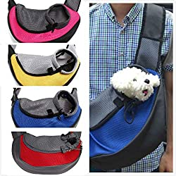 cola-site Pet Carrier Cat Puppy Small Animal Sling Front Mesh Travel Tote Shoulder Backpack,Red,L