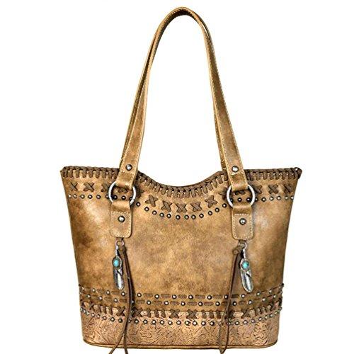 Montana West Tote Handbags Western Tassel Tooled Women's Purses MW612-8279 (Brown) (Tooled Western Purse)