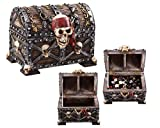 Forged Dice Co. Deluxe Large Skull and Bones Pirates Chest Dice Storage Box - Container Holds up to 20 Sets of Polyhedral Dice or 140 Individual Dice