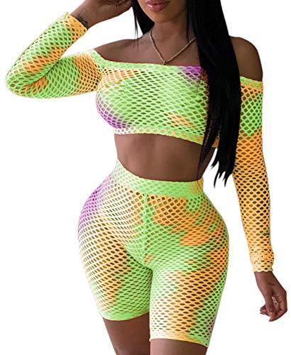 Women's Sexy Mesh 2 Piece Outfits Summer Long Sleeve Crop Top Short Jumpsuits Set