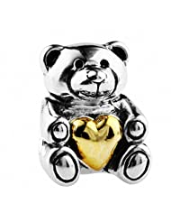 TAOTAOHAS Antique Solid Sterling 925 Silver Genuine Charm Bead [Heart Winnie Bear] Fit European Bracelet
