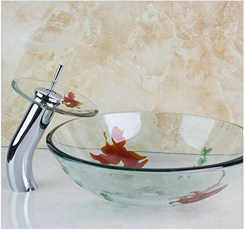 GOWE Bathroom Beautiful Style Basin Sink Deck Mounted Washbasin Vessel Vanity Waterfall Faucet Combo with Pop up Drain 3