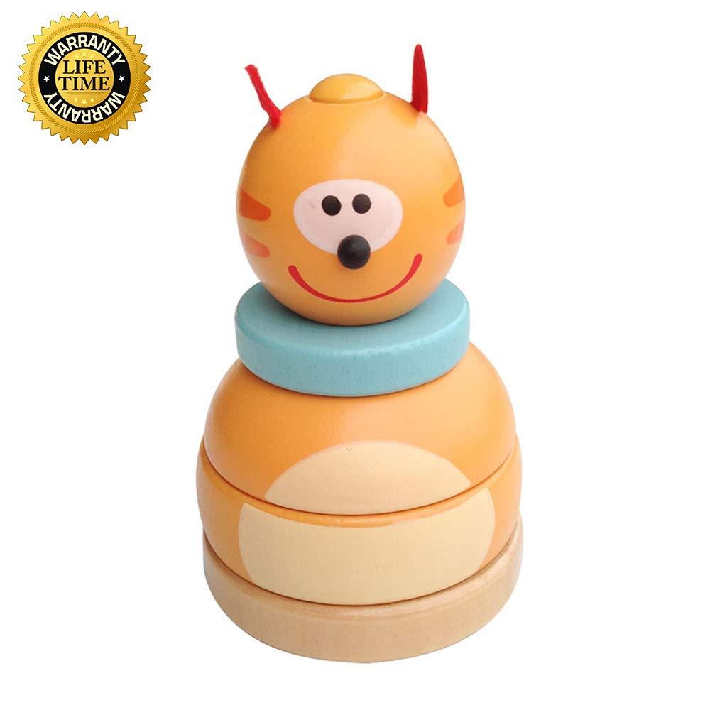 Wekity クラシックスタッカートイ 2イン1 木製スタッカートイ 小さなかわいいパンダ 子供と幼児の発達玩具 木製ベースタンブラートイ カラフルなスタッキングリング 赤ちゃん 優れた職人技 イエロー 01  イエロー B07SL91NNC