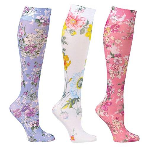 Print Knee High Socks (Women's Mild Compression Wide Calf Knee High Support Socks - Floral Prints - 3 Pair)