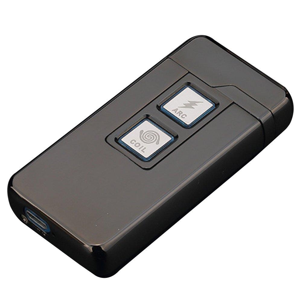 Qimaoo 2 en 1 Plasma ARC mecheros y Coil, Densidad de Viento Recargables USB Encendedor de Cigarrillos Tocar Control