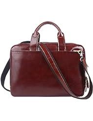 Leathario Mens Retro Leather Briefcase Laptop Bag Business Messenger Bag Cowhide Bag