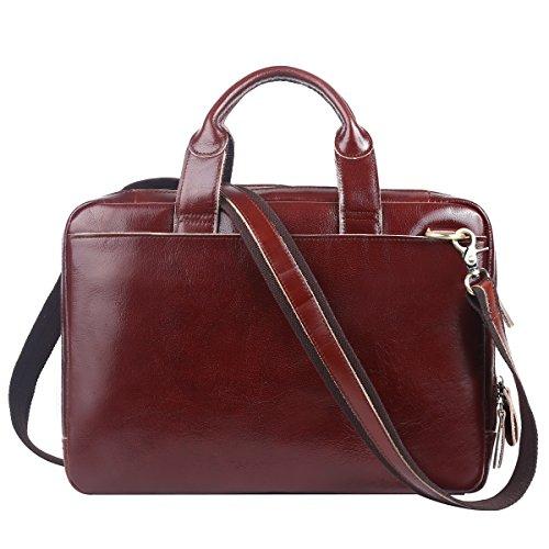 - Leathario Leather Briefcase for Men Leather Laptop Bag Shoulder Messenger Bag Business Work Bag (Brown-41)