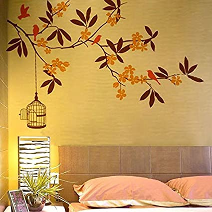 Buy Decals Design \'Branch Flowers and Cage\' Wall Sticker (PVC Vinyl ...