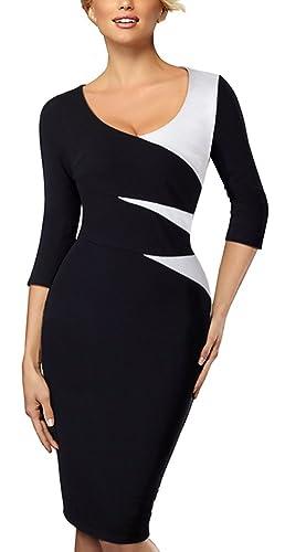 HOMEYEE Women's Elegant Chic Formal 3/4 Sleeve Sheath Business Career Dress B346